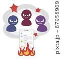 炎上するSNSと叩く人々 67958969