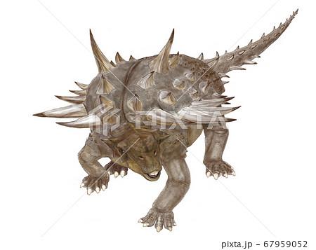 ガストニア 白亜紀前期に生息した鎧竜。頭部の特性はアンキロサウルス類だが尻尾の先にハンマーがない。 67959052