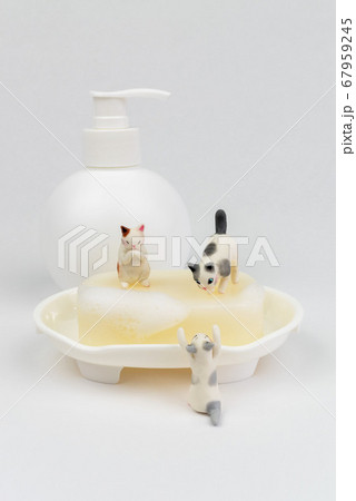 ウイルス感染予防で手洗いをするミニ猫たちと消毒ポンプ 67959245