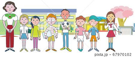 先生の周りに集う小学生たち セット イラスト 67970102