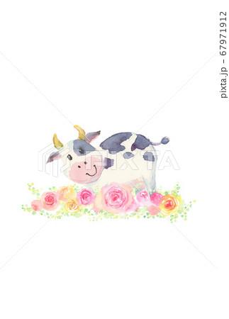 水彩で描いたかわいい牛の年賀状 67971912