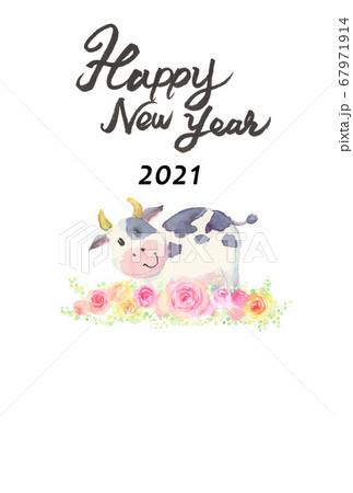 水彩で描いたかわいい牛の年賀状 67971914