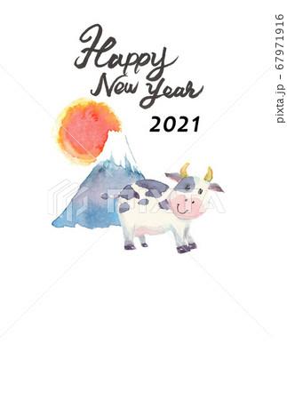 水彩で描いたかわいい牛の年賀状 67971916