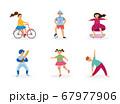 Children sports set of kids perform sport activity vector illustration isolated. 67977906