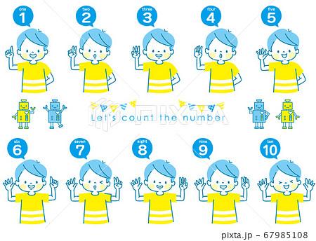 英語で1から10までの数える男の子の表情セットとロボット 67985108