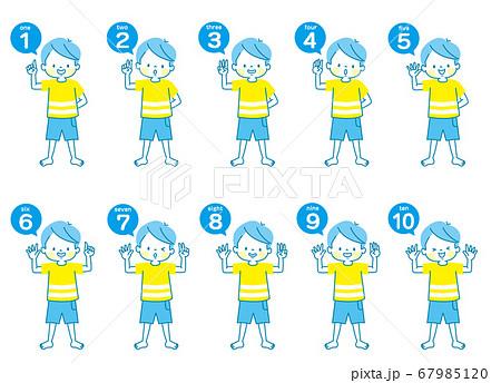 英語で1から10までの数える男の子の表情セット(全身) 67985120