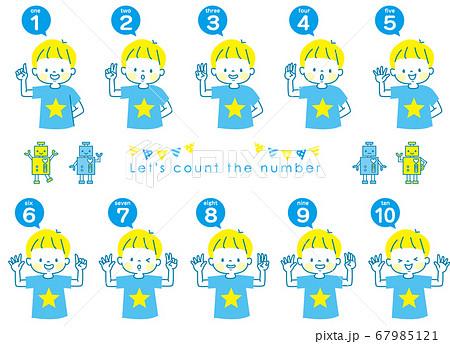 英語で1から10までの数える男の子の表情セットとロボット 67985121