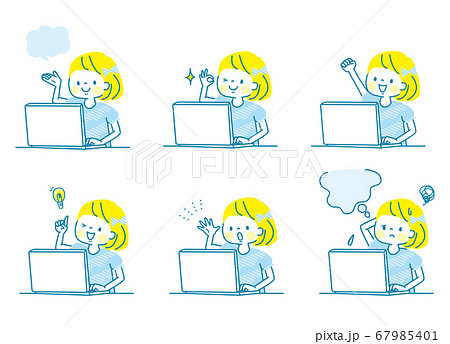 パソコンで勉強する女の子の表情セット 67985401