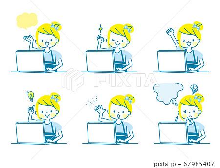 パソコンで勉強する女の子の表情セット 67985407