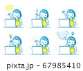 パソコンで勉強する女の子の表情セット 67985410