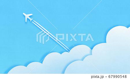ペーパーカットの飛行機雲の背景 67990548