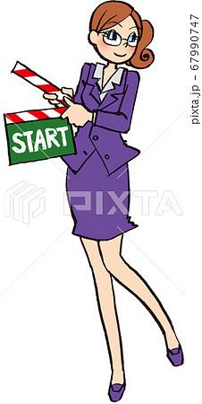 イラスト 手描き ビジネス 女性 スーツ カチンコ スタート 67990747