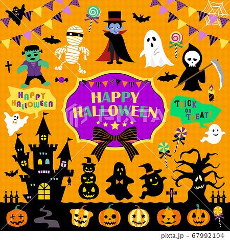 ハロウィーンイラストセット/モンスター、かぼちゃ、シルエット 67992104