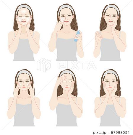 スキンケアをする女性のセット 67998034