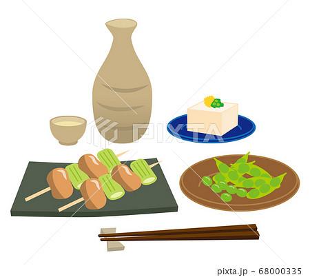 日本酒とおつまみのイラストセット/白背景 68000335