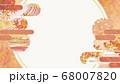 和紙の風合いを感じる背景イラスト-秋、紅葉の素材 68007820