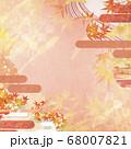 和紙の風合いを感じる背景イラスト-秋、紅葉の素材 68007821