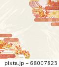 和紙の風合いを感じる背景イラスト-秋、紅葉の素材 68007823
