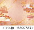 和紙の風合いを感じる背景イラスト-秋、紅葉の素材 68007831