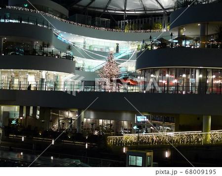 ピンク色に輝くクリスマスツリーのある横浜の夜景 68009195