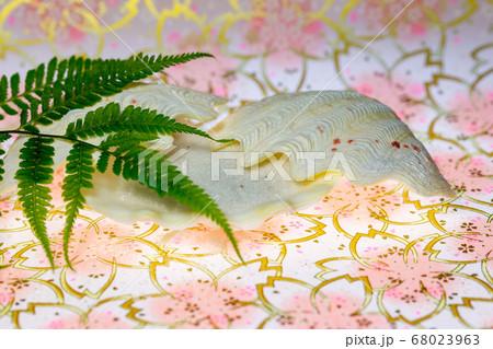 淡いピンク地の背景に貝殻の組合せ 背景・イメージ用テーブルフォト 68023963