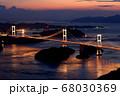 来島海峡大橋の夕日 68030369