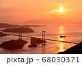 来島海峡大橋の夕日 68030371