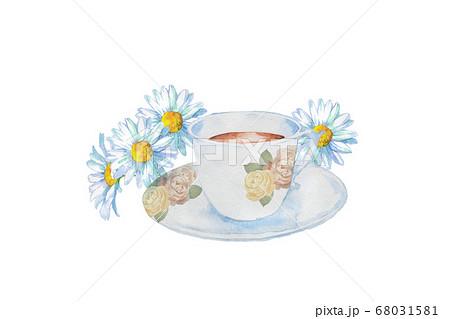 紅茶のカップと花の水彩画 68031581