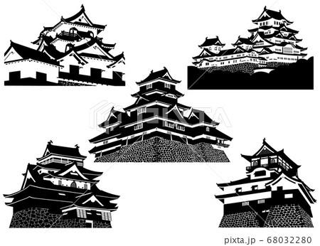 国宝天守5城 白黒シルエット (姫路城・松本城・犬山城・彦根城・松江城) 68032280