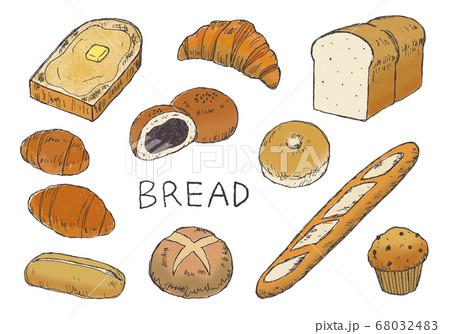 いろんなパンの手描きイラスト(カラー) 68032483