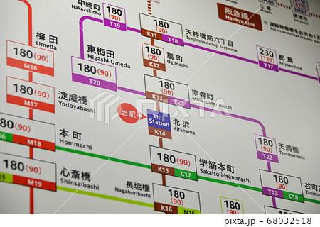 大阪メトロ堺筋線北浜駅のきっぷ運賃表 68032518
