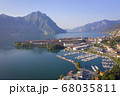 Drone view of Lake Iseo and port of Lovere 68035811