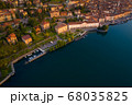 Drone view of Lake Iseo and Lovere cxity 68035825