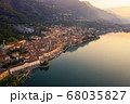 Drone shot of Lake Iseo and Lovere cxity 68035827
