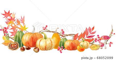 ハロウィンの飾りフレームの水彩イラスト。白背景。 68052099