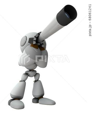 望遠鏡を覗くキュートなロボット。3Dレンダリング。 68061241