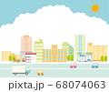 街並みと道路のイラスト 68074063