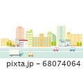 街並みと道路の背景イラスト 68074064