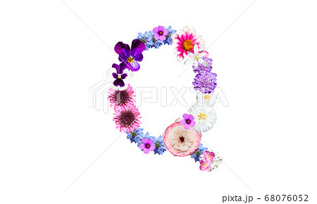花文字(花のフォント)、アルファベットのQ 68076052