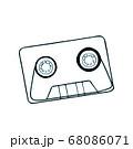 音楽 カセットテープ(手書き風イラスト 青緑ライン重ね) 68086071