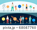 Vector banners with people visiting the planetarium. 68087760