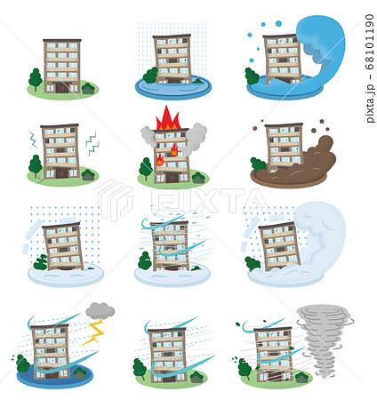 災害に遭い崩壊するマンションのベクターイラストセット 68101190