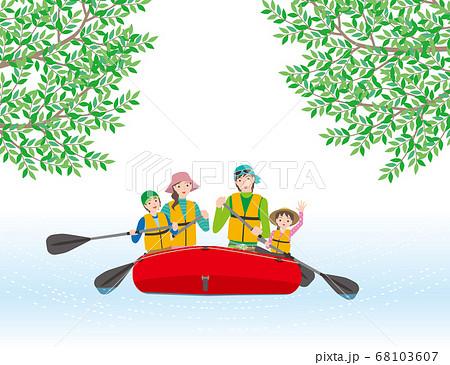ゴムボートで川下りを愉しむ4人家族 68103607