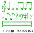 色鉛筆の手描き音符セット【緑】 68109403