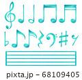 色鉛筆の手描き音符セット【青】 68109405