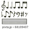 色鉛筆の手描き音符セット【黒】 68109407