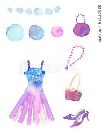 水彩で描いたパーティーのファッションイラスト 68127080