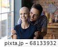 Caring husband hug sick wife dreaming of recovery together 68133932