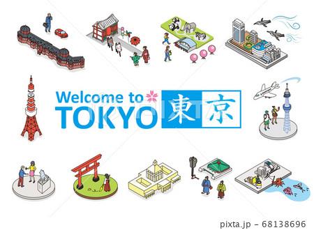 ようこそ、東京へ。東京の観光名所イメージイラスト。アイソメトリック 等尺性イラスト。 68138696