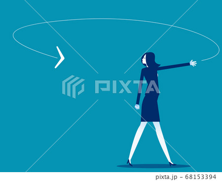 A businesswoman looking at the boomerang coming 68153394
